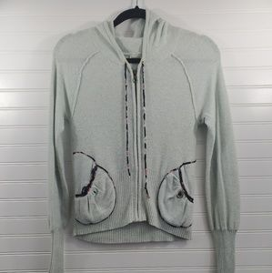 Anthro Slepping On Snow Crop Zip Up Hoodie Sz M